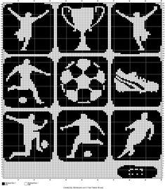 Cross Stitch Cards, Cross Stitch Embroidery, Cross Stitch Patterns, C2c, Crochet Motifs, Knit Crochet, Knitting Charts, Knitting Patterns, Football Blanket