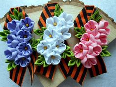 9мая Fabric Origami, Corsage, Fabric Flowers, Quilling, Ribbon, Brooch, Stitch, Sewing, Crochet