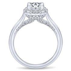 Gabriel - Cypress 14k White Gold Round Halo Engagement Ring