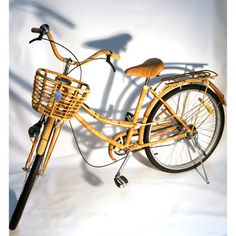 Rattan & Bamboo Bike design inspiration on Fab. Bamboo Bicycle, Wooden Bicycle, Old Bicycle, Vintage Bikes, Vintage Love, Vespa Motorcycle, Powered Bicycle, Bike Design, Old Trucks