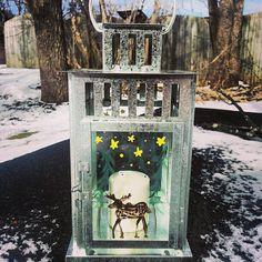 Silver hand painted lantern Moose Moon and star by ellephantstudio, $35.00