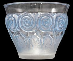 """RENE LALIQUE CLEAR AND FROSTED WITH BLUE PATINA GLASS """"RENNES"""" VASE Model introduced 1933. Signed R. LALIQUE FRANCE"""