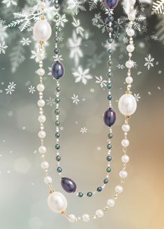 Layer up with our white and grey pearl necklaces. From our Burlington family.