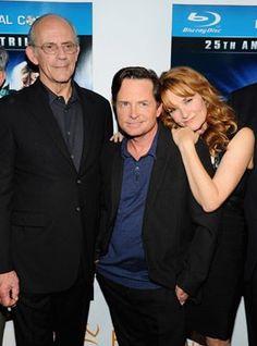 Michael J. Fox, Christopher Lloyd and Lea Thompson at event of Назад в будущее (1985)