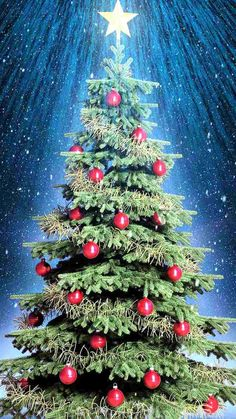 painted Christmas tree with star iPhone 6 wallpaper - lights