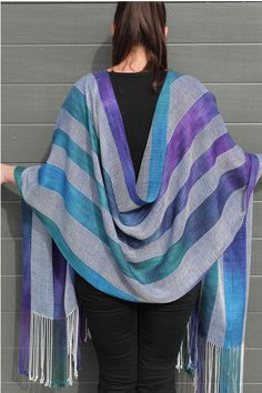 Shooting the Rapids.  Hand dyed and Handwoven wrap