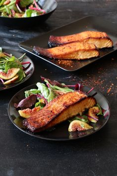 Honey Mustard Salmon served with figs and beets ad greens