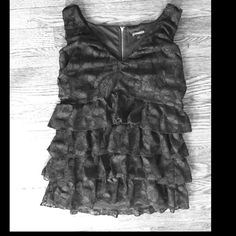 Black lace ruffle top Black lace tiered top, v-neck, sleeveless top. Express Tops Blouses