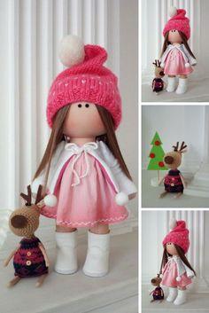 Soft Textile Doll Love Winter Doll Poupée Cloth Rag Doll Red Nursery Doll Christmas Baby Room Handmade Doll Fabric Tilda Doll by Olga K Crochet Gifts, Crochet Baby, Crochet Dolls, Red Nursery, Christmas Baby, Crochet Christmas, Fabric Dolls, Rag Dolls, Handmade Home Decor
