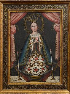 Devotional Madonna Century Primitive Style Painting on Copper Pintura Colonial, Colonial Art, Spanish Colonial, Religious Paintings, Religious Art, Statues, Mexican Paintings, Peruvian Art, Christian Devotions