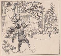 Spelen in de sneeuw.