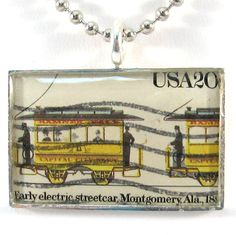 Vintage US Postage Stamp Pendant Necklace  Early Electric Streetcar by 12be, $14.50
