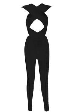 Black Criss Cross top slim fit pant jumpsuit. Bandage jumpsuit. In stock now at www.slayaccessories.com. #fashion #sexyjumpsuit #bandagedress #bodycondress #bodysuit
