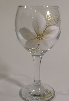 Christmas Gold and White Poinsettia, Elegant Hand Painted Glassware. $8.50, via Etsy.