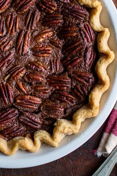 The bittersweet chocolate adds depth to what is traditionally a sweet pie, and the bourbon gives it a grownup finish. (Photo: Andrew Scrivani for The New York Times)