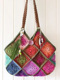Noro crochet boho squares raw crystal feather charms bag via Etsy