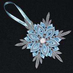 Handmade snowflake christmas tree decoration ornament in light blue silver kanzashi style free uk delivery Christmas Ribbon Crafts, Diy Christmas Tree Skirt, Felt Christmas Decorations, Christmas Tree Themes, Xmas Ornaments, Christmas Angels, Handmade Christmas, Crochet Ornaments, Crochet Snowflakes