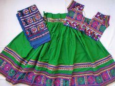 Navratri chaniya choli Designer Indian Green and Blue by mfussion