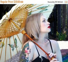 ON SALE Beautiful Blond Retro/Modern Pin-up, Tatooed Beauty With Parasol at Pool- Artistic Portrait Photography - Color Art Print - 8 x 10 P