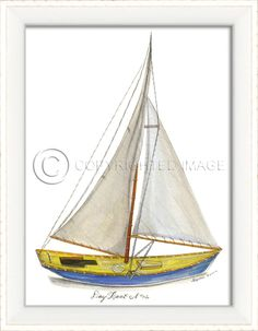 """"" x white framed cottage art from our new Kolene Spicher beach art collection, Day Boat Pretty blue and yellow skiff to adorn your beach cottage home! These pieces are numbered a Wooden Boat Building, Wooden Boat Plans, Boat Building Plans, Cottage Art, Beach Cottage Decor, Coastal Cottage, Coastal Farmhouse, John Boats, Nautical Home"
