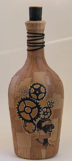 Botella pintada, $130 en http://ofeliafeliz.com.ar