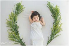 Organic Newborn session with flowers.