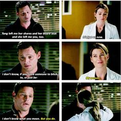 Meredith and Alex (Grey's anatomy Meredith Grey, Alex And Meredith, Meredith And Christina, Grey Quotes, Tv Quotes, Movie Quotes, Greys Anatomy Memes, Grey Anatomy Quotes, Grays Anatomy
