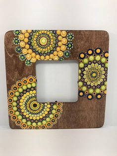 Original Mandala Painting on Wood Photo Frame, Dotilism, Dot Painting, Aboriginal Art, Henna Meditation Art, Healing/Calming, Hand Painted Acrylic paint on canvas, sprayed multiple times with high gloss sealer to protect paint and aging. Colors are: yellows, blue, greens Background