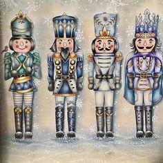 Johanna Basford, Nutcrackers #johannabasford #johannaschristmas #divasdasartes #mycreativeescape #colorindo #coloring #arttherapy #coloring-secrets #coloringmasterpiece #creativelycoloring #johannabasford_repost #divasdasartes #bayan_boyan #colorindoinstagram #festivecoloralong #nutcracker #fabercastellglobal #fabercastell #staedtlermars #polychromos #pittpastel