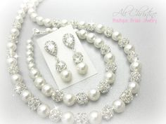 Pearl Bridal Jewelry Set // Full Jewelry Set by AliChristineBridal