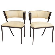 Pair of Italian Modern Klismos Form Bronze and Leather Upholstered Chairs | From a unique collection of antique and modern armchairs at https://www.1stdibs.com/furniture/seating/armchairs/