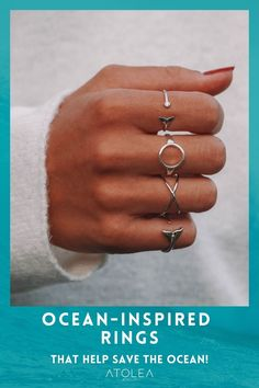 Boho rings! Every purchase of our ocean jewelries can help save marine animals! Contribute in saving the ocean with each of your purchase. Shop now at atoleajewelry.com