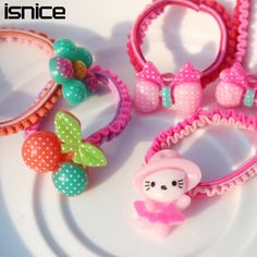15pcs isnice Cartoon Colorful Plastic Elastics children's Kids candy color rubber band baby Girl Hair accessories headdress