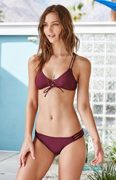 ee35948bef Lace-Up Strappy Bralette Bikini Top Sexy Bikini, Bralette Bikini, Strappy  Bralette,
