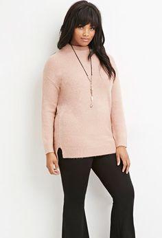 Plus Size Longline Fuzzy Sweater | Forever 21 PLUS - 2000145656