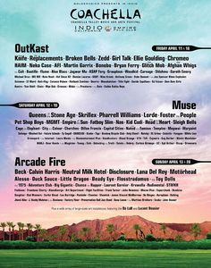 Coachella 2014 lineup. SO MANY amazing bands I've been dying to see, all in one place. I dream of this