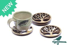 Tree of Life, Solid Maple Wooden Coasters, Laser Cut, Paul Szewc http://etsy.me/20mgDVE