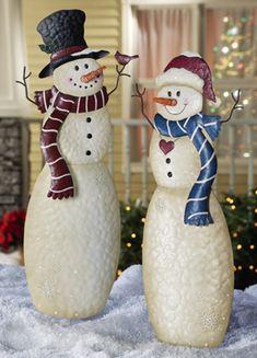 Christmas Snowmen Outdoor Garden Stakes