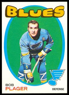1971 72 TOPPS HOCKEY #103 BOB PLAGER NM ST LOUIS BLUES WITH FREE SHIP TO USA #StLouisBlues