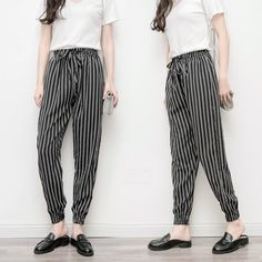 Women Baggy Harem Tapered Pant Trousers Pocket Striped Black