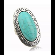 $15 or 2/$25 Large Bohemian Turquoise Ring Totally Chic Large Smokey Silver and Turquoise Cocktail Ring. Adjustable item #0131  ❤️ Bundles  Trades All Reasonable Offers Accepted. Jewelry Rings