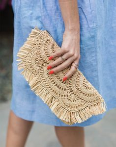 """- Description - Artisan Perfect for vacationing or going out with your friends! * Clutch: approximately 6""""h x 12""""w x 2""""d * 100% crocheted raffia * Fringe and scallop detailing * Cotton lining, inside"""