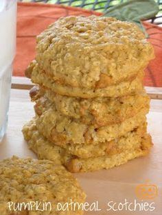 Pumpkin Oatmeal Scotchies—These are a little cakier than I thought they'd be, but very tasty. They also make way more cookies than the 4 dozen the recipes states (I guess if you made them extra-extra large this may not be the case!