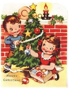 vintage Christmas Children - brother and sister decorating tree #christmas #children #treedecorations