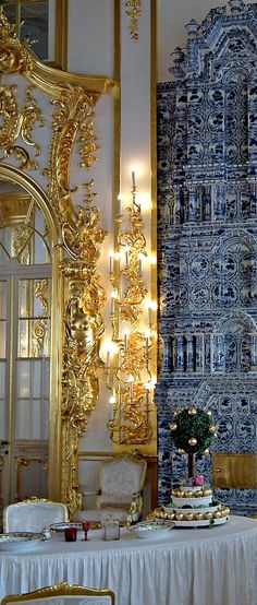 THE ROMANOVS RESIDENCES ~ Palace interior of the residence of Empress Catherine II in Pushkin, Tsarskoye Selo, the 18th century