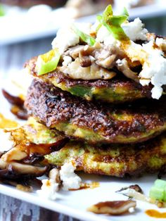 Zucchini Pancakes with Wild Mushrooms, Crumbled Goat Cheese & Garlic Chili Oil - Healthy Recipe Ecstasy (HRx)
