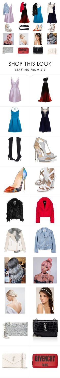 """""""Prom looks"""" by izzwhizzicorn on Polyvore featuring Miss Selfridge, Topshop, Jimmy Choo, Miss KG, McQ by Alexander McQueen, MANGO, ASOS, LULUS, Tory Burch and Yves Saint Laurent"""