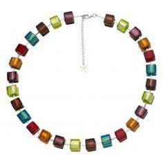 Valentina Murano Glass Necklace Multi Coloured Cubes #jewellery #murano #venice
