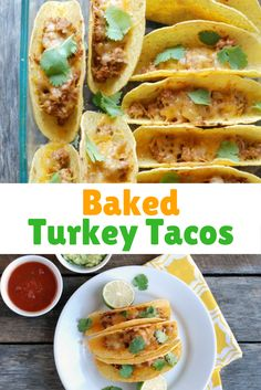 Perfect for a busy weeknight meal, these Baked Turkey Tacos are family-friendly and can be made ahead. via @https://www.pinterest.com/rmnutrition/