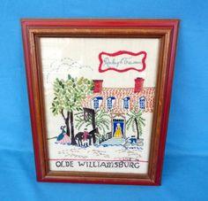 Vtg. Cross Stitch Sampler '76 Raleigh Tavern Colonial Williamsburg Embroidered